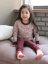 cheap -Girls' Striped Sleepwear,Cotton Long Sleeves Simple Blushing Pink