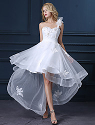 cheap -A-Line One Shoulder Asymmetrical Satin Tulle Custom Wedding Dresses with Sequin Appliques by LAN TING Express