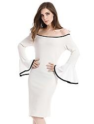 cheap -Women's Work Vintage Flare Sleeve Bodycon Sheath Dress - Color Block, Ruffle High Waist Boat Neck
