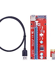 cheap -30CM PCI-E PCI Express 1X to 16X Riser Card Extender with USB 3.0 Data Cable / 15Pin SATA Molex Power Supply