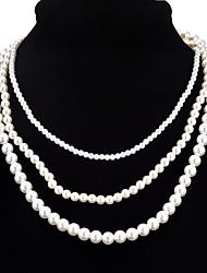 Недорогие -Жен. Слоистые ожерелья  -  Искусственный жемчуг Мода Белый Ожерелье Назначение Официальные, Выпускной