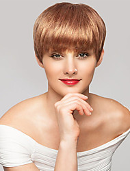 cheap -Women Human Hair Capless Wigs Medium Auburn Short Straight Pixie Cut Side Part