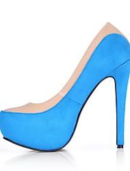 abordables -Femme Chaussures Velours Polyuréthane Printemps Automne Confort Chaussures à Talons Talon Aiguille Bout rond pour Mariage Habillé Bleu