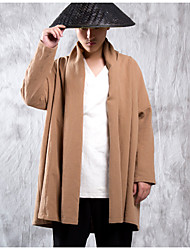 Pánské Jednobarevné Jdeme ven Jednoduchý Kabát-Podzim Bavlna Podšívka Kulatý Dlouhý rukáv Dlouhé
