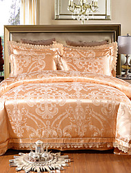 cheap -Duvet Cover Sets Floral Luxury 4 Piece 100% Tencel Jacquard 100% Tencel 1pc Duvet Cover 2pcs Shams 1pc Flat Sheet