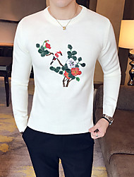 Men's Casual/Daily Short Pullover,Solid Print Round Neck Long Sleeves Japanese Cotton Winter Fall Opaque Micro-elastic