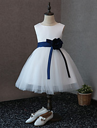cheap -A-Line Knee Length Flower Girl Dress - Satin Tulle Sleeveless Jewel Neck with Flower(s) by LAN TING BRIDE®