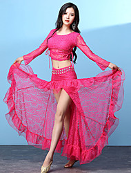 abordables -Danse du ventre Tenue Femme Utilisation Modal Dentelle Motif / Impression Bandeau Combinaison Manches Longues Taille basse Jupes Haut