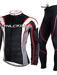 Nuckily Fahrradtrikots mit Fahrradhosen Herrn Langarm Fahhrad Kleidungs-Sets warm halten Atmungsaktiv 3D Pad Komfortabel Polyester Vlies