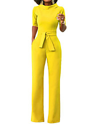 cheap -Women's Daily Simple Solid Turtleneck Jumpsuits,Wide Leg Half Sleeves Fall Elastane