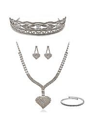 cheap -Women's Rhinestone Imitation Diamond Heart Jewelry Set Body Jewelry / 1 Necklace / Earrings - Fashion / European White Tiaras / Bridal