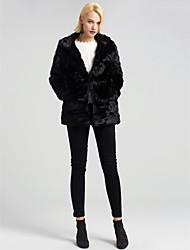 cheap -Women's Elegant Fashion Faux Fur Coat-Solid Colored