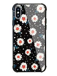 baratos -Capinha Para Apple iPhone X iPhone 8 Antichoque Estampada Capa Traseira Flor Rígida Vidro Temperado para iPhone X iPhone 8 Plus iPhone 8