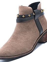 cheap -Women's Shoes PU Winter Fall Comfort Boots Null Chunky Heel Round Toe Booties/Ankle Boots / for Casual Black Khaki