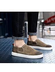 preiswerte -Herrn Schuhe Leder Nubukleder Frühling Herbst Komfort Loafers & Slip-Ons für Normal Schwarz Grau Khaki