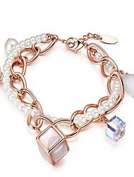 abordables -Femme Chaînes & Bracelets Charmes pour Bracelets Cristal Perle imitée Coréen Mode Elégant Cristal Imitation de perle Opale Forme de Cercle