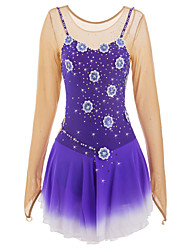 cheap -Figure Skating Dress Women's Girls' Ice Skating Dress Purple Spandex Rhinestone Appliques Sequined Pearls High Elasticity Performance