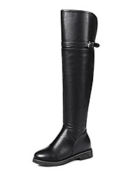 Women's Shoes PU Leatherette Winter Fall Fashion Boots Boots Low Heel Round Toe Knee High Boots Over The Knee Boots Buckle for Office &