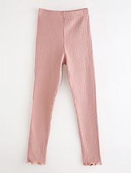 cheap -Girls' Solid Polka Dot Striped Pants, Cotton Spring, Fall, Winter, Summer Blue White Blushing Pink