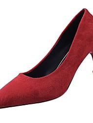Feminino Sapatos Couro Ecológico Inverno Outono Conforto Plataforma Básica Saltos Salto Agulha Dedo Apontado para Casual Preto Amarelo