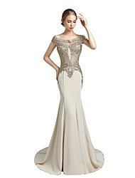 cheap -Mermaid / Trumpet Bateau Neck Court Train Satin Prom Formal Evening Dress with Beading Lace by Sarahbridal