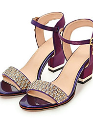 cheap -Women's Shoes PU(Polyurethane) Spring / Fall Comfort / Novelty Sandals Chunky Heel Open Toe Rhinestone / Buckle Beige / Purple / Red