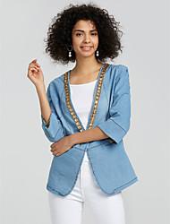 Недорогие -Для женщин На выход Зима Джинсовая куртка Рубашечный воротник,Простой Однотонный Обычная Длинный рукав,Полиэстер