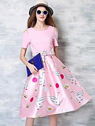 Feminino Evasê Vestido,Casual Fofo Estampado Decote Redondo Altura dos Joelhos Manga Curta Poliéster Verão Cintura Média Micro-Elástica