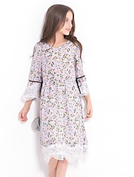 cheap -Girl's Casual/Daily Floral Dress,Polyester Spring Summer Long Sleeves Simple Lavender