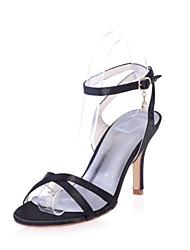 preiswerte -Damen Schuhe Satin Frühling Sommer Pumps Sandalen Stöckelabsatz Offene Spitze Schnalle für Kleid Party & Festivität Schwarz Purpur Rot