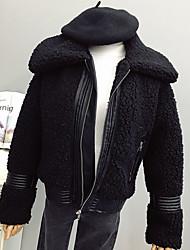 cheap -Women's Daily Vintage Winter Fall Jacket,Solid Shirt Collar Long Sleeve Regular Lamb Fur