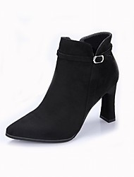 cheap -Women's Shoes Flocking Winter Bootie Boots High Heel Pointed Toe Booties / Ankle Boots Buckle Black / Gray