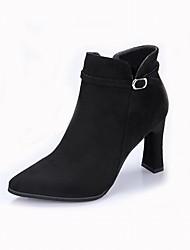 preiswerte -Damen Schuhe Beflockung Winter Stiefeletten Stiefel Stöckelschuh Spitze Zehe Booties / Stiefeletten Schnalle Schwarz / Grau