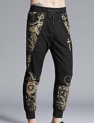 cheap -Men's Mid Rise Micro-elastic Chinos Pants,Vintage Print Summer