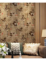Imprimé Fond d'écran pour la maison Classique Revêtement , Tissu Non-Tissé Matériel adhésif requis fond d'écran , Couvre Mur Chambre
