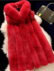 cheap -Women's Casual Fox Fur Fur Coat-Solid Colored