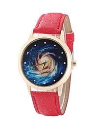 baratos -Mulheres Quartzo Relógio de Pulso Relógio Elegante Relógio de Moda Chinês Relógio Casual PU Banda Casual Preta Branco Azul Vermelho