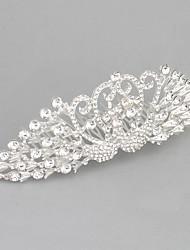 cheap -Metalic Rhinestone Silver-Plated Hair Combs with Rhinestone 1pc Wedding Congratulations Headpiece