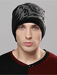 cheap -Men's Sweater Floppy Hat,Work Painting Winter Spring Knitted Brown Black