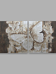 economico -Dipinta a mano Floreale/Botanical Modern Tela Hang-Dipinto ad olio Decorazioni per la casa Due Pannelli
