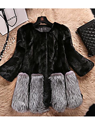 cheap -Women's Going out Street chic Winter Fur Coat,Solid Round Neck Long Sleeve Short PU Raccoon Fur