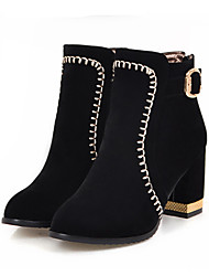 cheap -Women's Shoes Nubuck leather Spring Fall Comfort Novelty Fashion Boots Boots Chunky Heel Pointed Toe Booties/Ankle Boots Rivet Buckle for