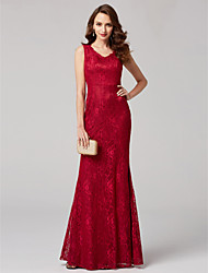 cheap -Sheath / Column V-neck Floor Length Lace Formal Evening Dress with Lace by TS Couture®