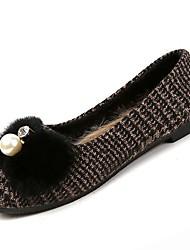 Femme Chaussures Tissu Hiver Confort Ballerines Talon Plat Bout rond Perle pour Décontracté Noir Arc-en-ciel Marron