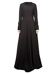cheap -Arabian Dress Abaya Female Festival / Holiday Halloween Costumes Black Blue Fuschia Solid Color Block