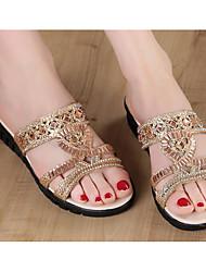 Feminino Sapatos Micofibra Sintética PU Primavera Verão Conforto Sandálias Salto Plataforma para Casual Dourado Prata Azul