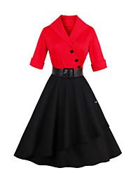 baratos -Mulheres Vintage Casual Bainha balanço Vestido Sólido Retalhos Colarinho de Camisa Altura dos Joelhos