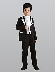 cheap -Silver Gold Polyester Ring Bearer Suit - Six-piece Suit Includes  Jacket Pants Vest Waist cummerbund Bow Tie Shirt