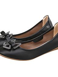 preiswerte -Damen Schuhe Echtes Leder Frühling Herbst Komfort Mokassin Flache Schuhe Null Flach Runde Zehe Null Strass Schleife für Normal Schwarz
