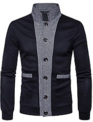 cheap -Men's Daily Casual Color Block Stand Sweater Cardigan, Long Sleeves Winter Fall Polyester Spandex